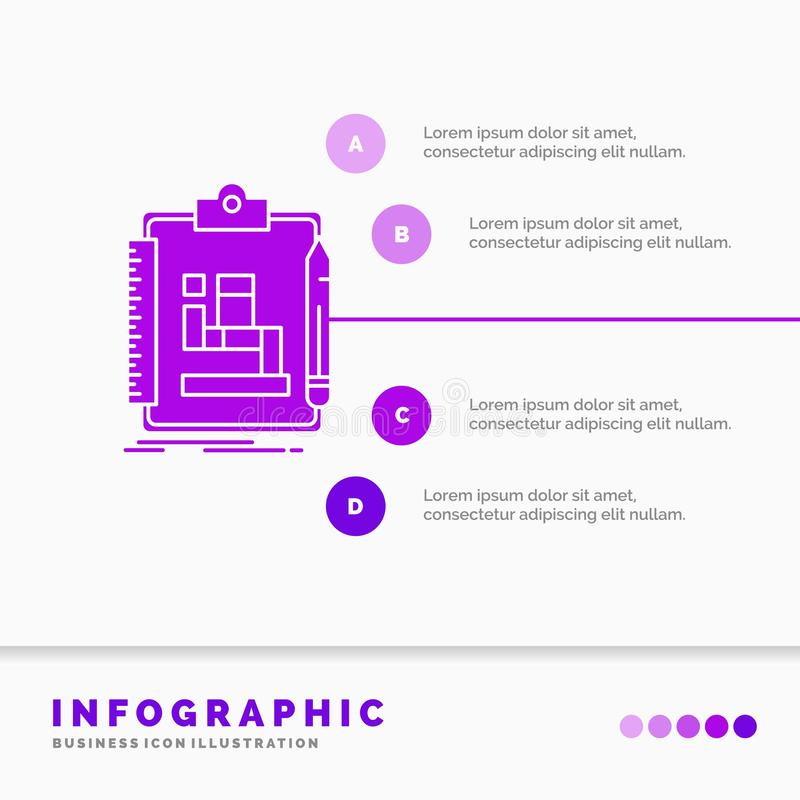 Algorithm, process, scheme, work, workflow Infographics Template for Website and Presentation. GLyph Purple icon infographic style. Vector illustration.. Vector stock illustration