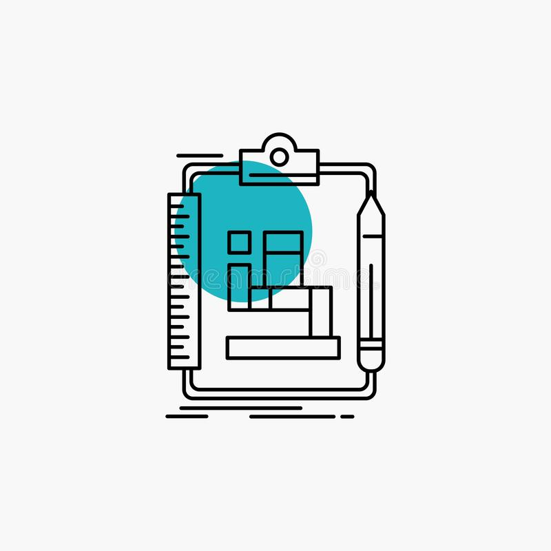 Algorithm, process, scheme, work, workflow Line Icon. Vector EPS10 Abstract Template background royalty free illustration