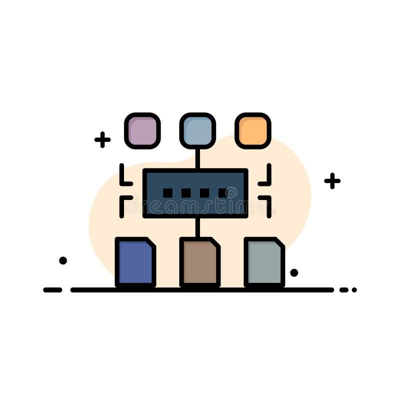 Algorithm, Program, User, Document Business Logo Template. Flat Color vector illustration