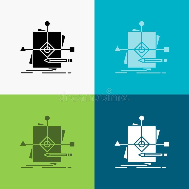 Algorithme, affaires, pr?voyant, mod?le, ic?ne de plan au-dessus de divers fond conception de style de glyph, con?ue pour le Web  illustration stock
