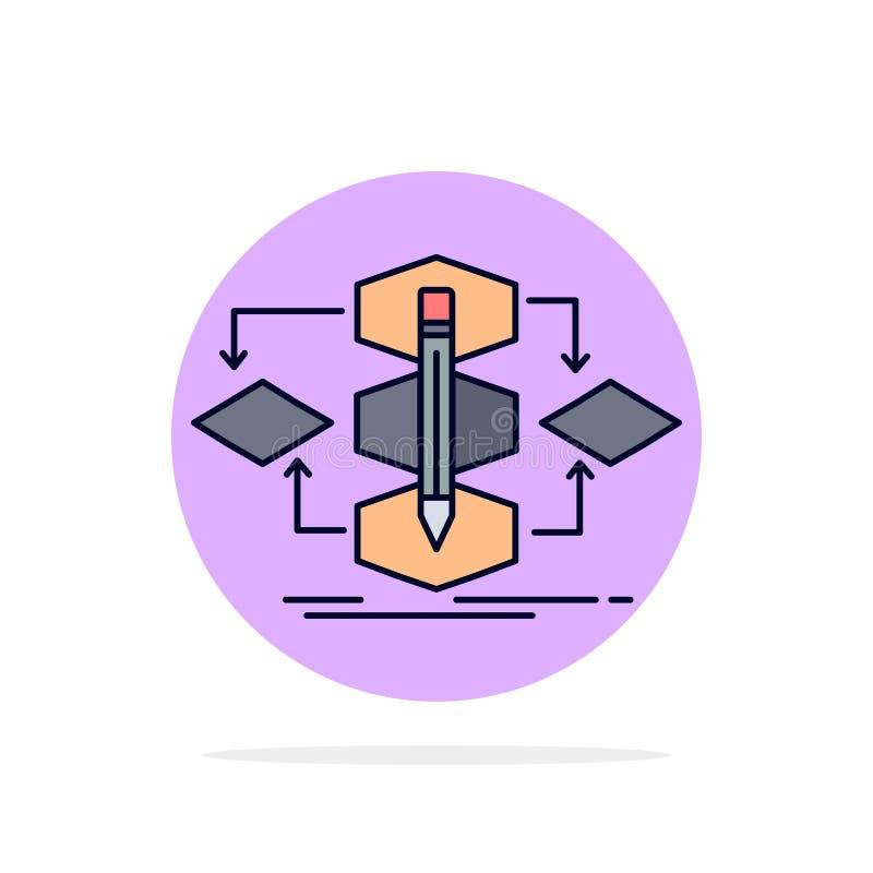 Algorithme, conception, méthode, modèle, vecteur plat d'icône de couleur de processus illustration stock