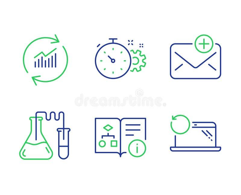 Algorithme technique, laboratoire de chimie et jeu d'icônes de nouveaux courriels. Vecteur illustration stock