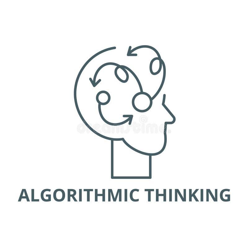 Algorithmic thinking line icon, vector. Algorithmic thinking outline sign, concept symbol, flat illustration stock illustration
