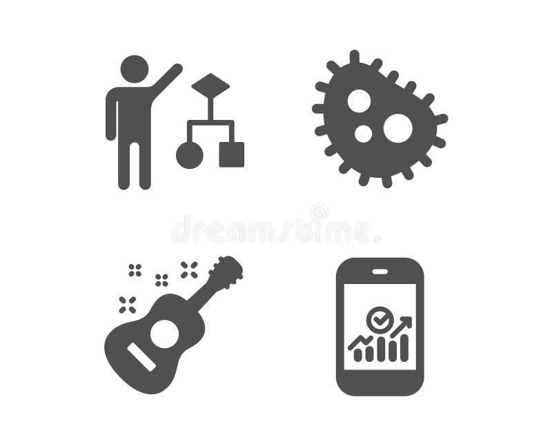 Algorithmus-, Bakterien- und Gitarrenikonen Smartphone-Statistikzeichen Vektor lizenzfreie abbildung