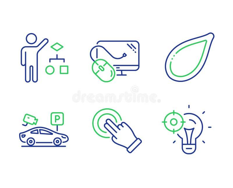 Algorithmus-, Computermaus und Kürbiskernikonensatz Geste des Bildschirm-, parkende Sicherheit und Seo-Ideenzeichen Vektor stock abbildung