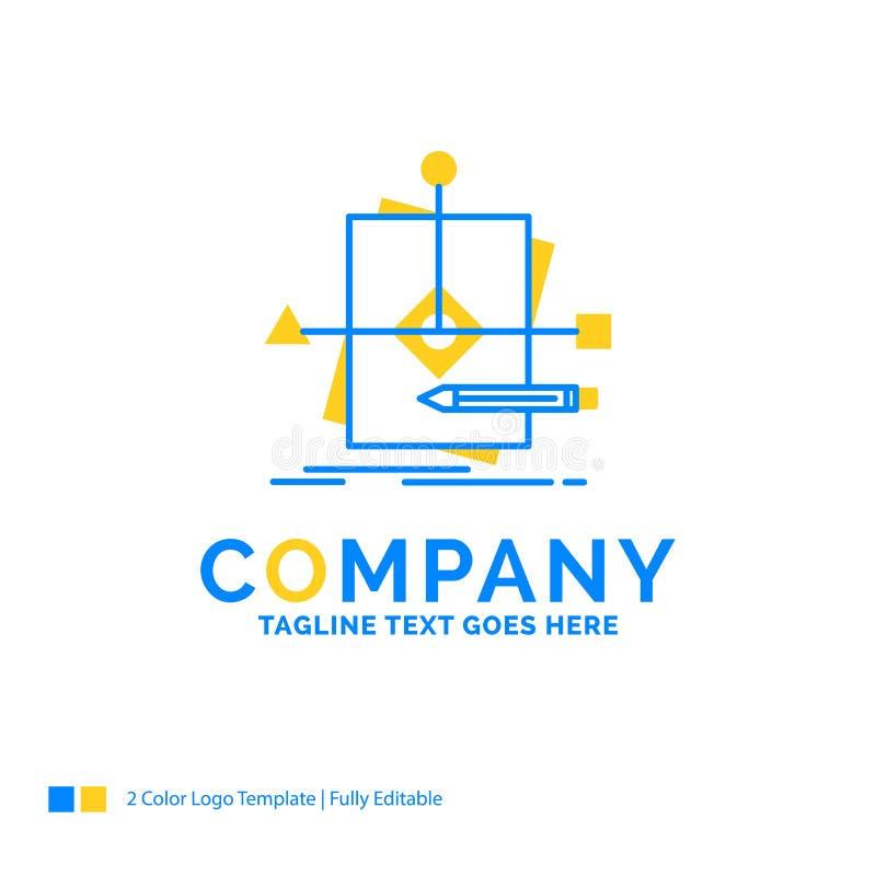 Algoritm affär som förutsäger, modell, plan blåa gula Busi stock illustrationer