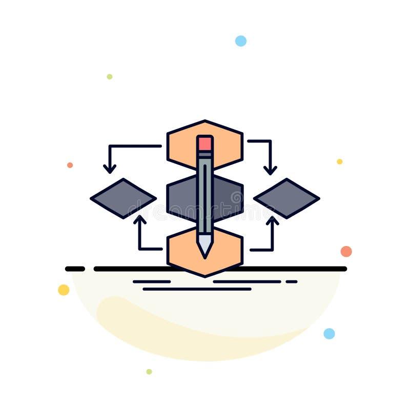 Algoritm design, metod, modell, för färgsymbol för process plan vektor royaltyfri illustrationer