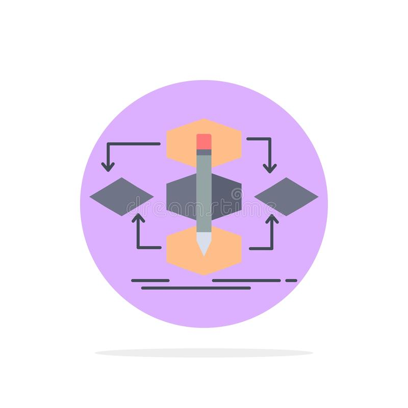Algoritm design, metod, modell, för färgsymbol för process plan vektor vektor illustrationer