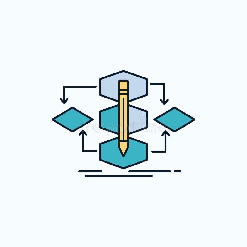 Algoritm design, metod, modell, plan symbol för process gr?nt och gult tecken och symboler f?r website och mobil appliation vekto royaltyfri illustrationer