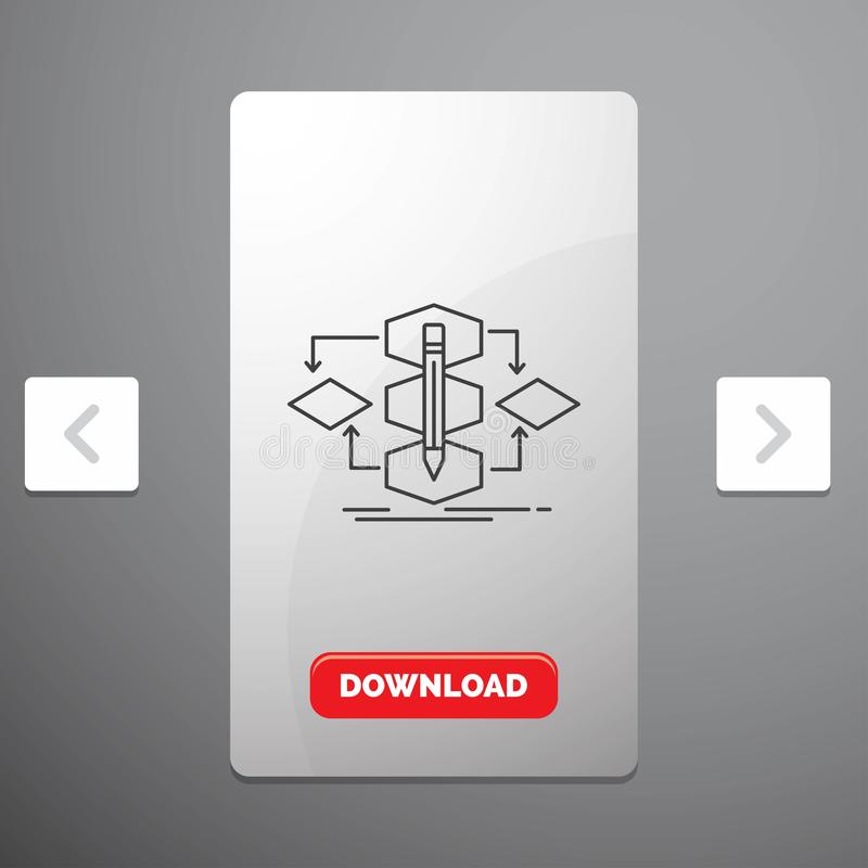 Algoritm, design, metod, modell, processlinje symbol i design för Carousalpagineringsglidare & röd nedladdningknapp royaltyfri illustrationer