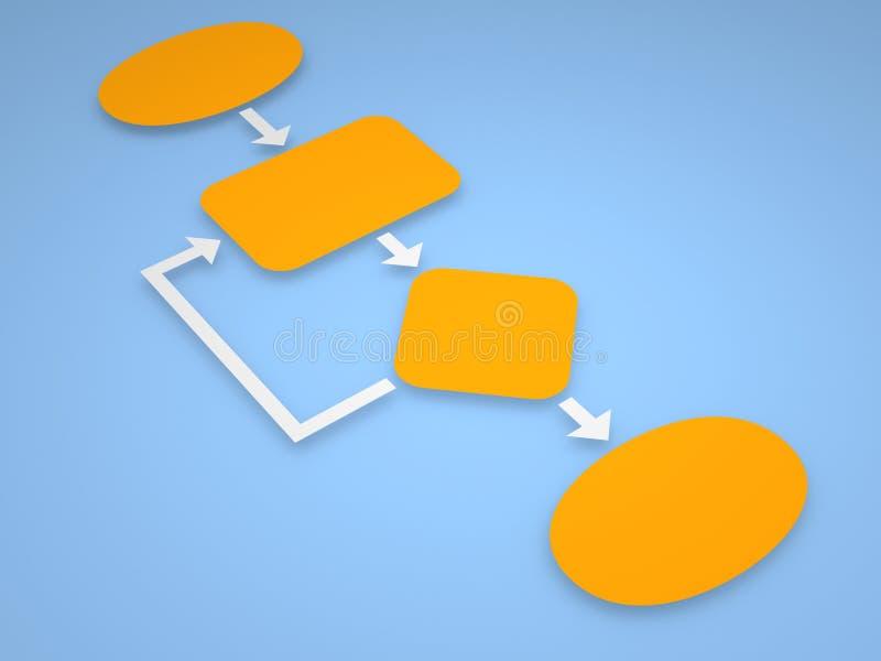 Algoritm med orange kvarter på blå bakgrund royaltyfri illustrationer