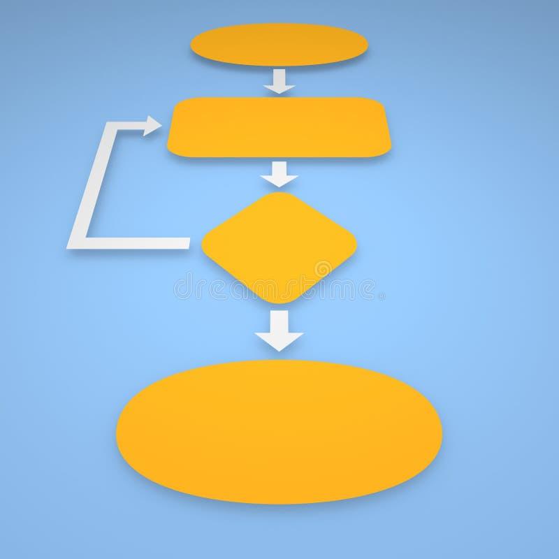 Algoritm med orange kvarter på blå bakgrund stock illustrationer