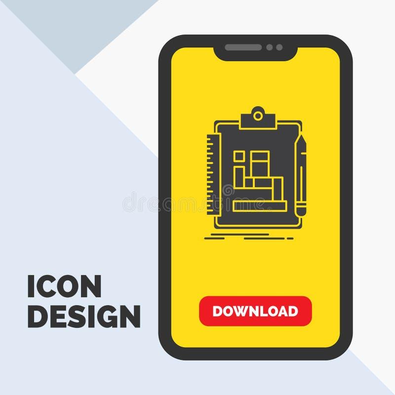 Algoritm process, intrig, arbete, workflowskårasymbol i mobilen för nedladdningsida Gul bakgrund royaltyfri illustrationer