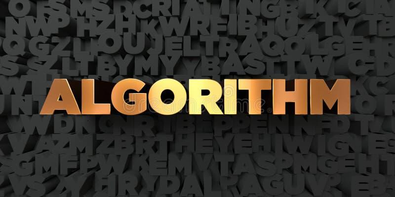 Algoritme - Gouden tekst op zwarte achtergrond - 3D teruggegeven royalty vrij voorraadbeeld royalty-vrije illustratie