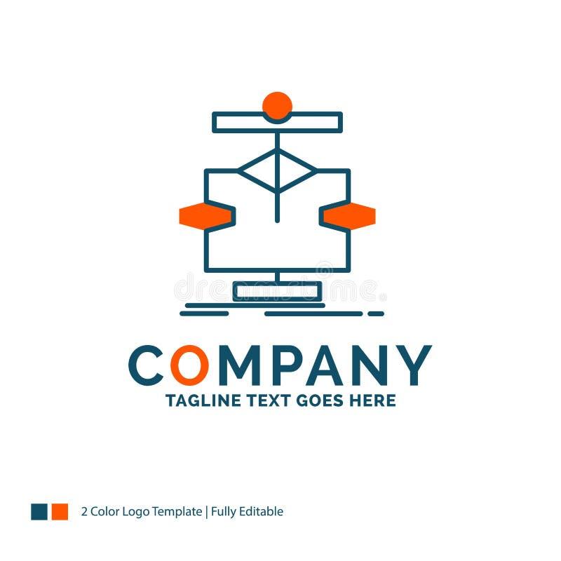 Algoritme, grafiek, gegevens, diagram, stroom Logo Design Blauw en Oran vector illustratie