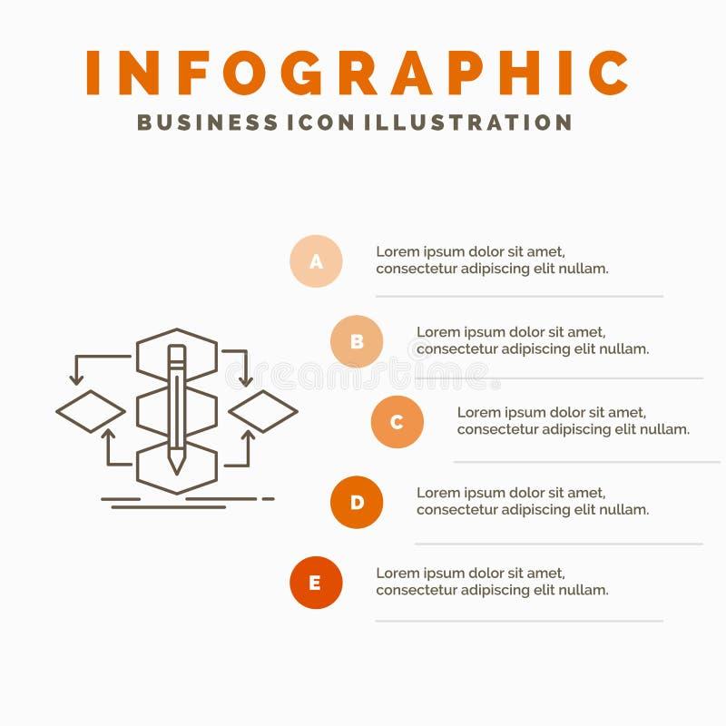 Algoritme, ontwerp, methode, model, het Malplaatje van procesinfographics voor Website en Presentatie Lijn Grijs pictogram met Si stock illustratie
