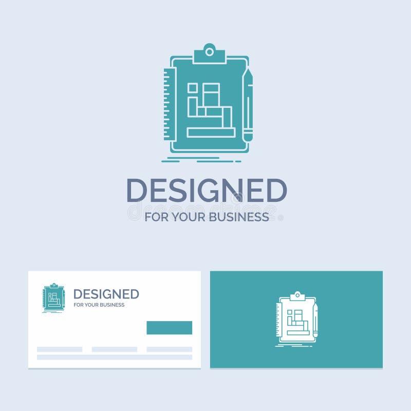 Algoritme, proces, regeling, het werk, werkschemazaken Logo Glyph Icon Symbol voor uw zaken Turkooise Visitekaartjes met Merk stock illustratie