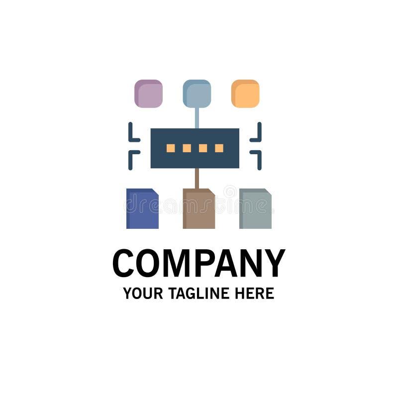 Algoritme, Programma, Gebruiker, Documentzaken Logo Template vlakke kleur stock illustratie