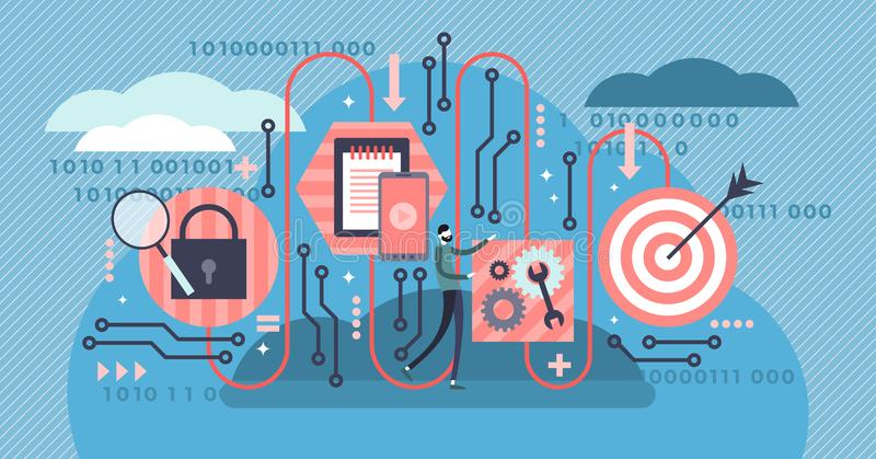 Algoritme vectorillustratie Het vlakke uiterst kleine digitale technologie-concept van de codagepersoon royalty-vrije illustratie