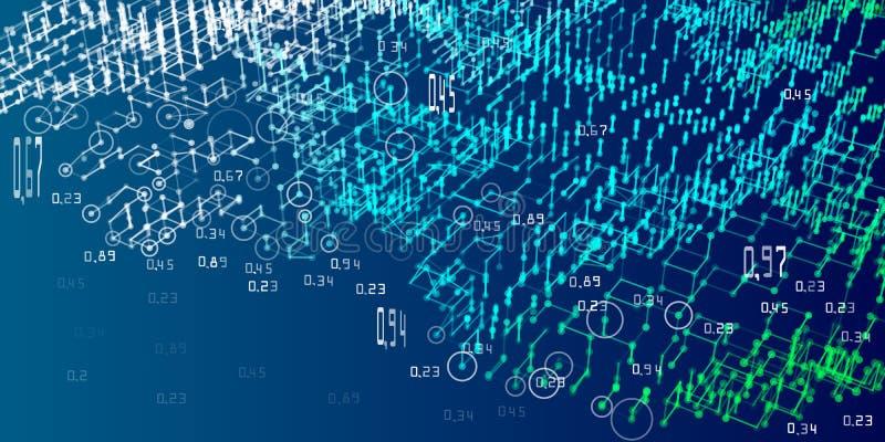 algoritmi di analisi del diagramma 3d Fondo astratto di infographics di analisi Grandi dati Illustrazione di vettore illustrazione di stock