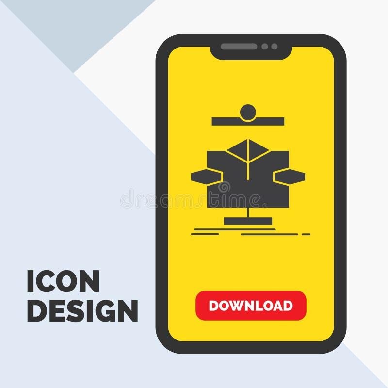 Algoritmo, carta, dados, diagrama, ícone do Glyph do fluxo no móbil para a página da transferência Fundo amarelo ilustração royalty free