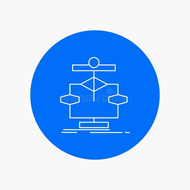 Algoritmo, carta, dados, diagrama, linha branca ícone do fluxo no fundo do círculo Ilustra??o do ?cone do vetor ilustração stock