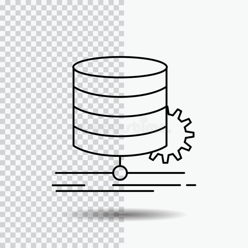 Algoritmo, carta, dados, diagrama, linha de fluxo ícone no fundo transparente Ilustra??o preta do vetor do ?cone ilustração stock