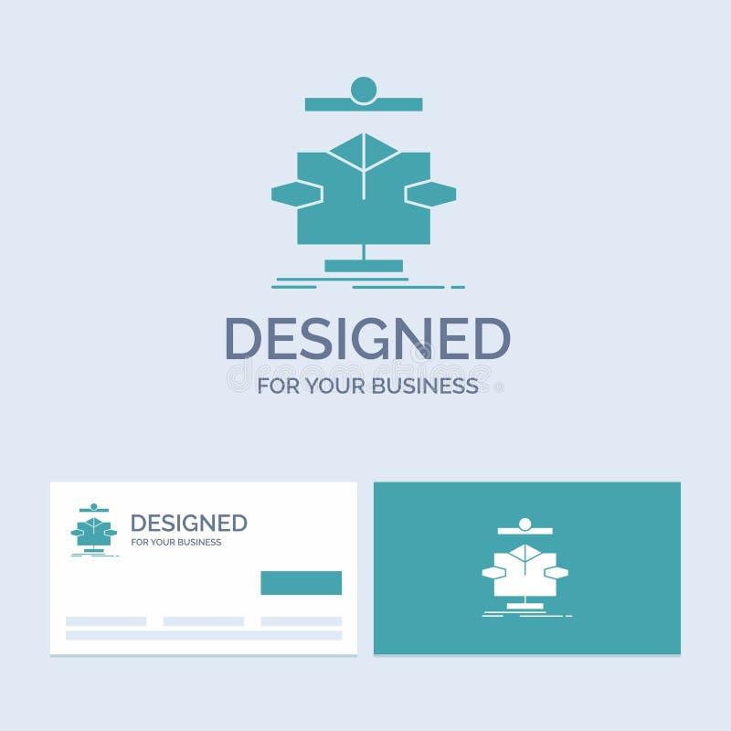Algoritmo, carta, dados, diagrama, negócio Logo Glyph Icon Symbol do fluxo para seu negócio Cart?es de turquesa com logotipo do t ilustração stock