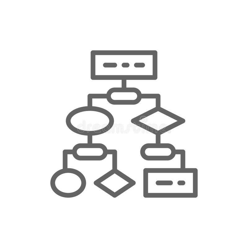 Algoritmo, codificando esquemas do bloco, linha ?cone do software do api ilustração royalty free