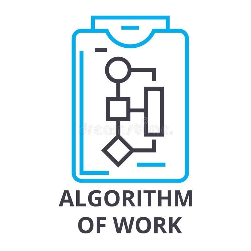 Algoritmo de la línea fina icono, muestra, símbolo, illustation, concepto linear, vector del trabajo libre illustration