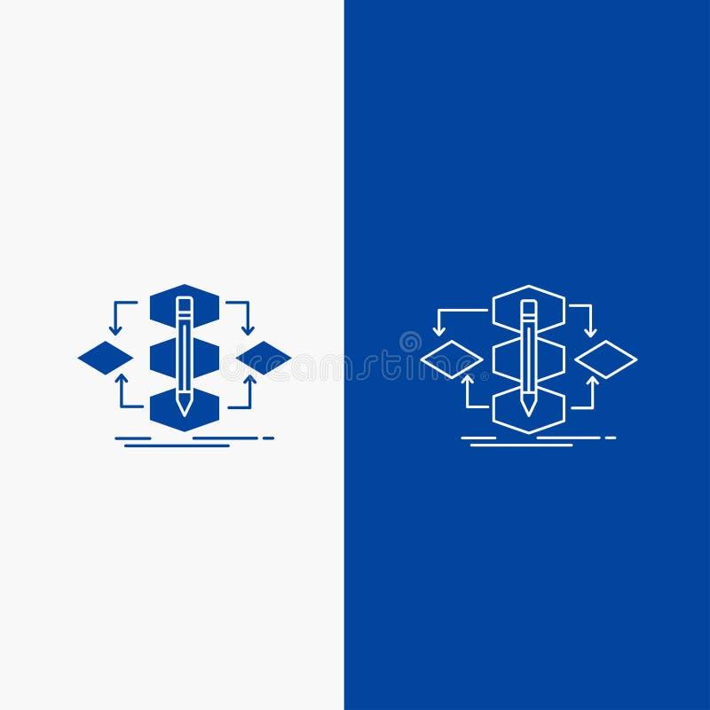 Algoritmo, diseño, método, modelo, botón de la web de la línea de proceso y del Glyph en la bandera vertical del color azul para  libre illustration