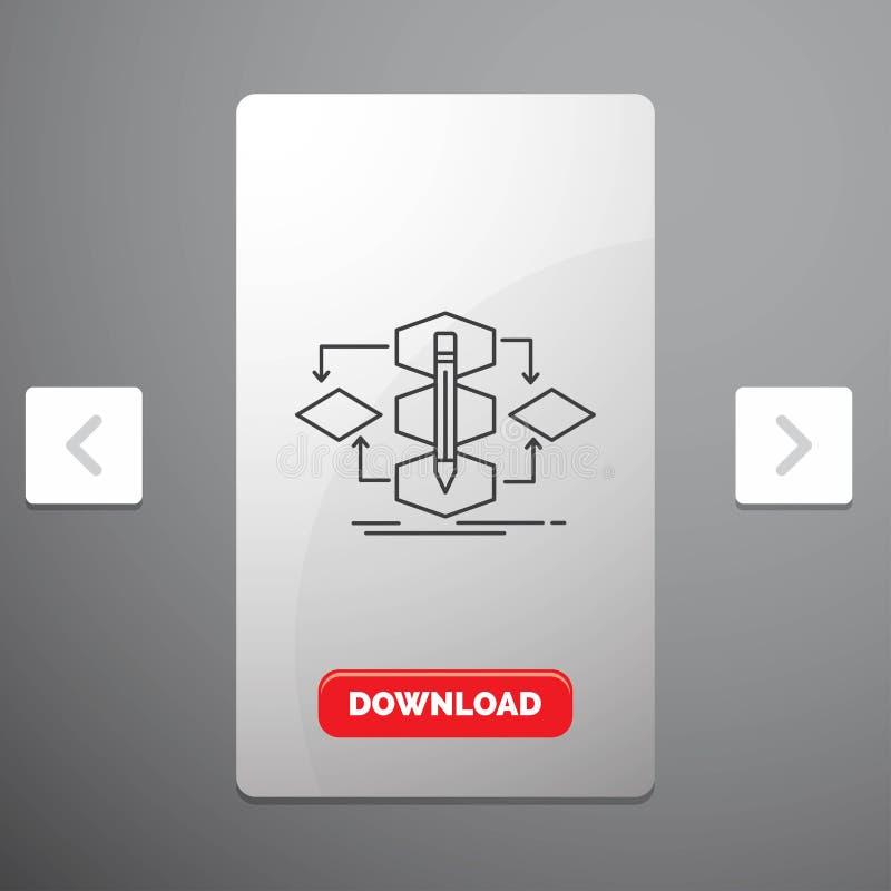 Algoritmo, diseño, método, modelo, línea de proceso icono en diseño del resbalador de las paginaciones de la orgía y botón rojo d libre illustration