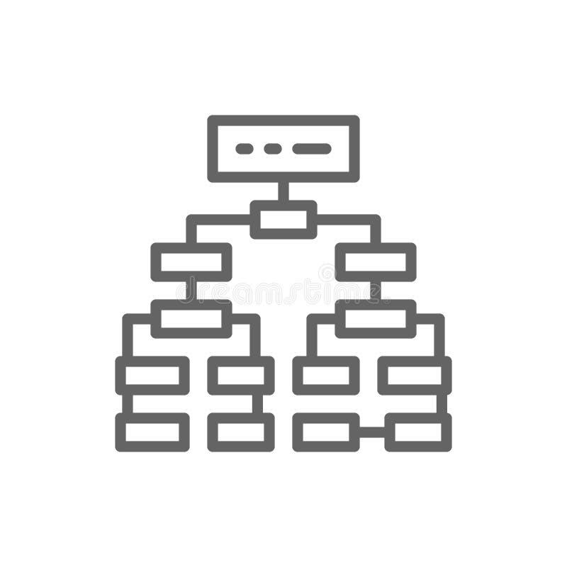 Algoritmo do programa, plano do fluxograma, linha ?cone do mindmap dos trabalhos ilustração royalty free