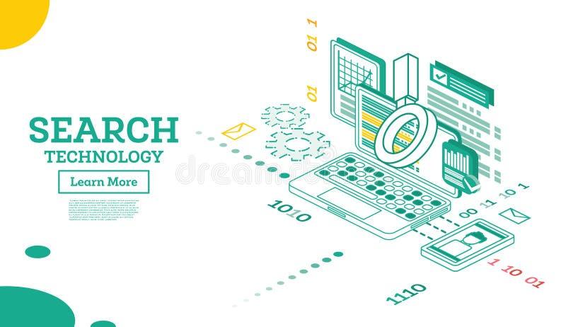 Algoritmo isometrico di domanda di ricerca Risultato organico di ricerca Seo Keyword royalty illustrazione gratis