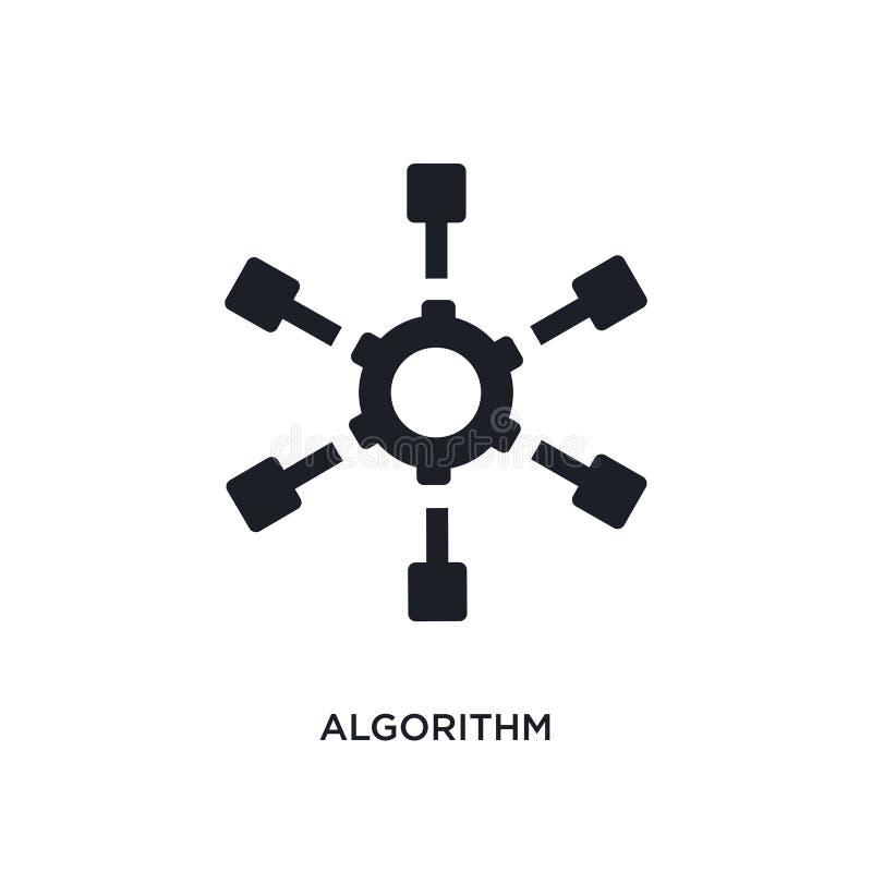 algoritmo preto ícone isolado do vetor ilustração simples do elemento dos ícones do vetor do conceito da inteligência artificial  ilustração stock