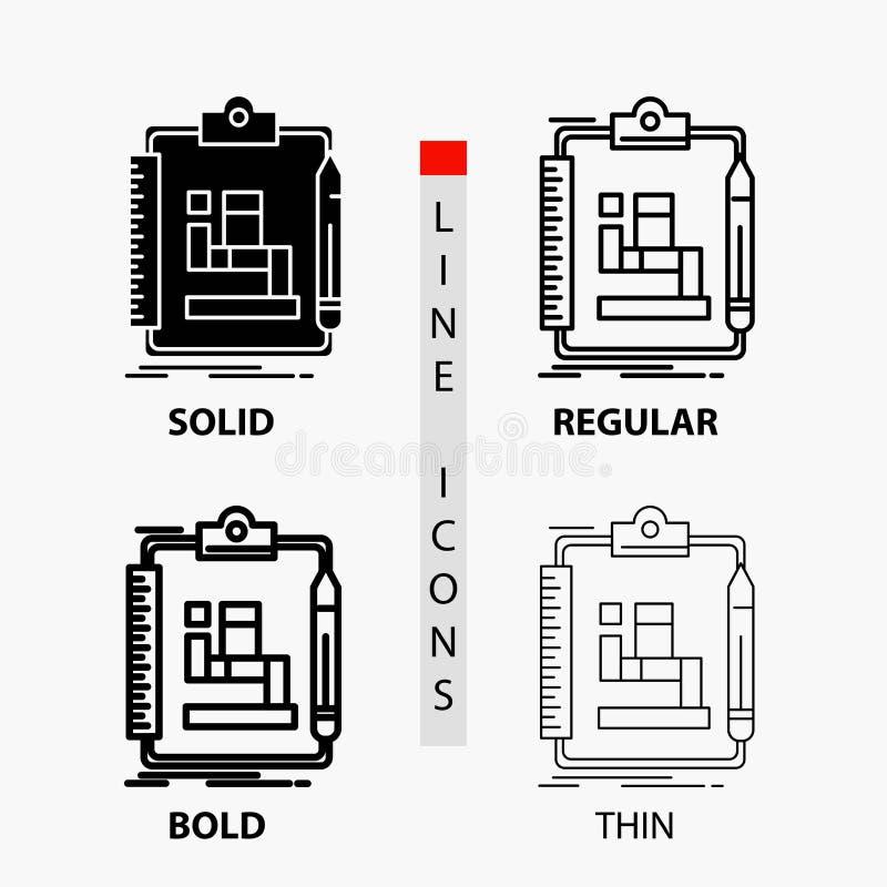 Algoritmo, proceso, esquema, trabajo, icono del flujo de trabajo en línea y estilo finos, regulares, intrépidos del Glyph Ilustra stock de ilustración