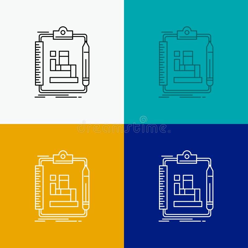 Algoritmo, processo, esquema, trabalho, ícone dos trabalhos sobre o vário fundo Linha projeto do estilo, projetado para a Web e o ilustração royalty free