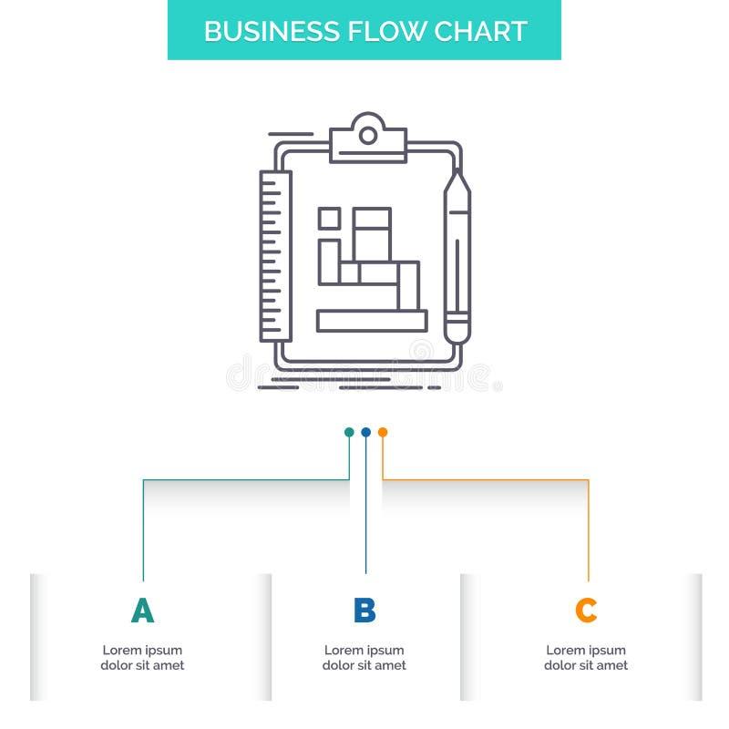 Algoritmo, processo, esquema, trabalho, projeto do fluxograma do negócio dos trabalhos com 3 etapas Linha ?cone para o molde do f ilustração stock