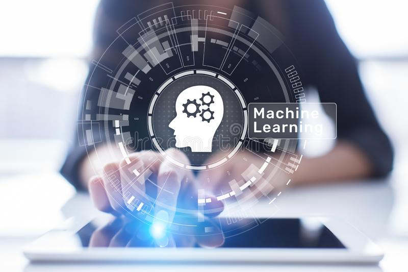 Algoritmos de aprendizagem profundos da máquina, inteligência artificial, AI, automatização e tecnologia moderna no negócio como  fotografia de stock
