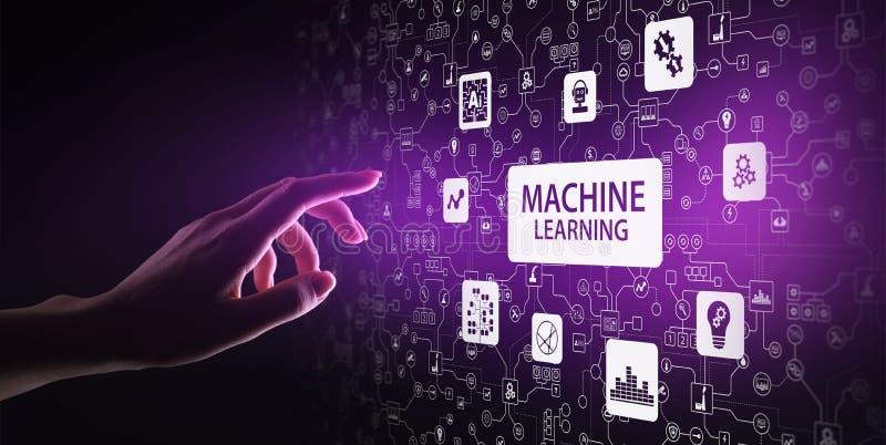 Algoritmos de aprendizagem profundos da m?quina, intelig?ncia artificial, AI, automatiza??o e tecnologia moderna no neg?cio como  ilustração do vetor