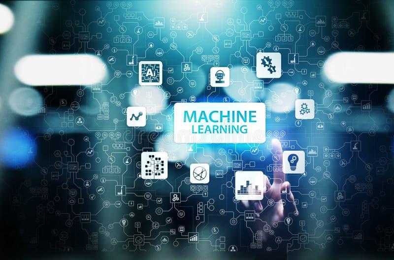 Algoritmos de aprendizaje profundos de la máquina, inteligencia artificial AI, automatización y tecnología moderna en negocio com imagen de archivo libre de regalías