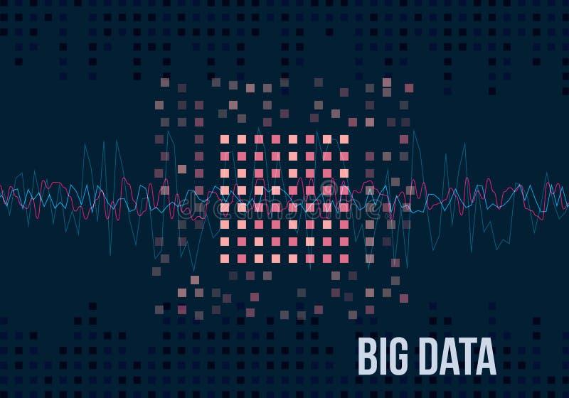 Algoritmos grandes dos dados Análise do projeto de Minimalistic Infographics da informação Ciência, fundo da tecnologia Vetor ilustração royalty free