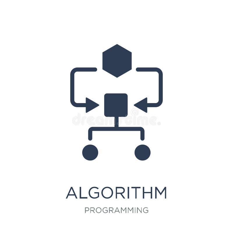 algoritmsymbol Moderiktig plan vektoralgoritmsymbol på vit backg royaltyfri illustrationer