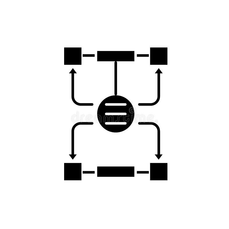 Algorytm decyzje czarna ikona, wektoru znak na odosobnionym tle Algorytm decyzji pojęcia symbol ilustracja wektor