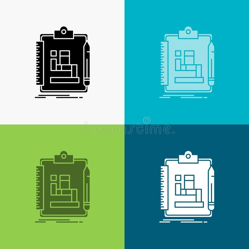 Algorytm, proces, plan, praca, obieg ikona Nad Różnorodnym tłem glifu stylu projekt, projektuj?cy dla sieci i app 10 eps royalty ilustracja