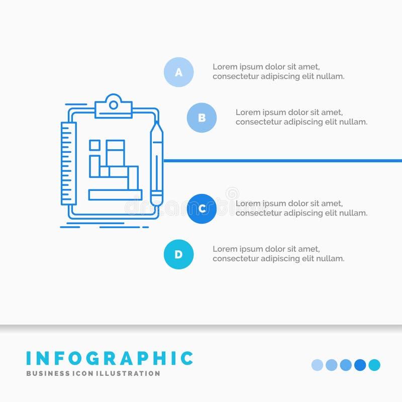 Algorytm, proces, plan, praca, obieg Infographics szablon dla strony internetowej i prezentacja, Kreskowej B??kitnej ikony infogr ilustracja wektor
