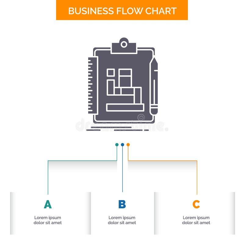 Algorytm, proces, plan, praca, obieg Sp?ywowej mapy Biznesowy projekt z 3 krokami Glif ikona Dla prezentacji t?a ilustracja wektor