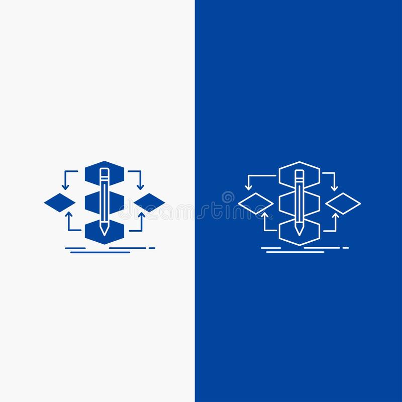 Algorytm, projekt, metoda, model, sieć, proces linii i glifu Zapinamy w Błękitnego koloru Pionowo sztandarze dla UI, UX, strona i royalty ilustracja