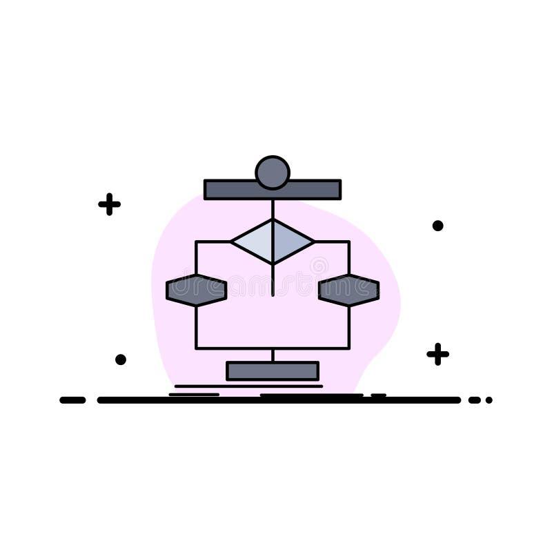Algorytm, wykres, dane, diagram, wektor ikony płaskokolorowej ilustracja wektor