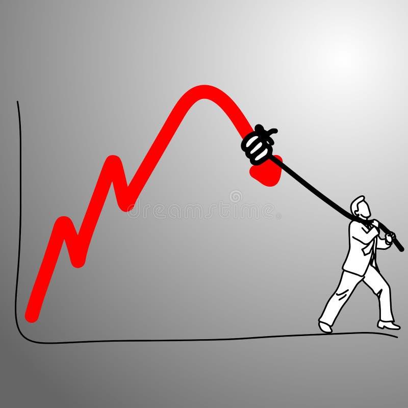 Alguém que faz o gráfico que cai para baixo com ilustração do vetor da corda ilustração do vetor